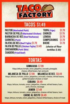 Taco Factory Allen Taco menu