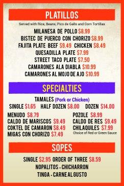 Taco factory Allen Specialties Menu